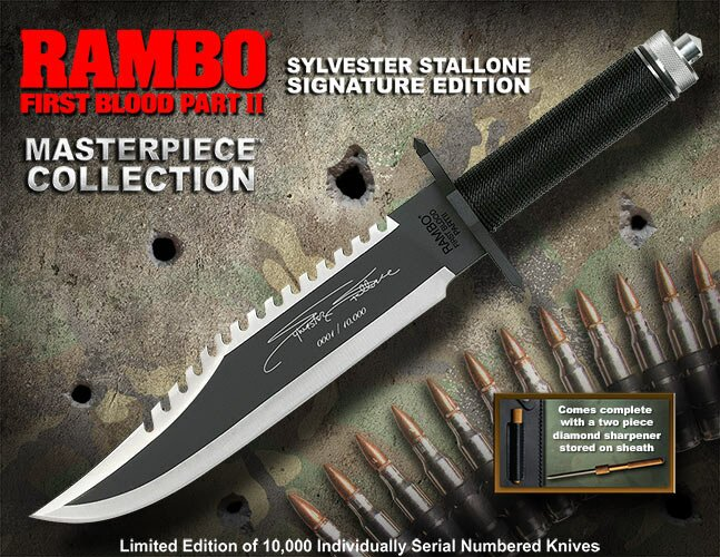 Knife Rambo II Sylvester Stallone Signature Edition Hollywood Collectibles Group